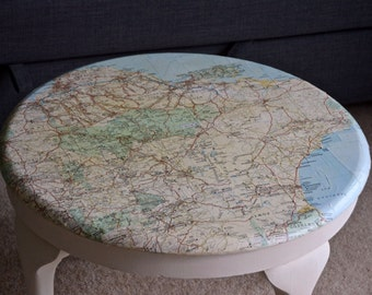 Reduced: Vintage Decoupage Map Coffee Table