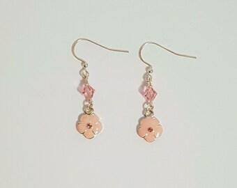 Pink Flower Charm Earrings