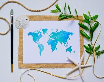 "Handmade Watercolor ""World"" Print"