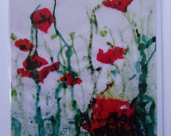 Wild Red Poppies Greetings Card (Square)