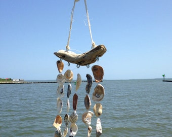 Oyster Shell Windchime, Sea Shell Wind Chime, Beach Chime, Patio Garden Decor, Beach Cottage Decor