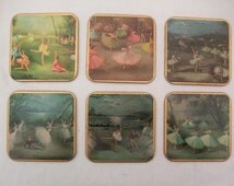 Gorgeous boxed set of vintage Ballet Win-El-Ware coasters designed by Carlotta Edwards, 1950s.