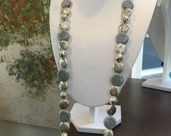 Necklace Silver Laminate with ceramic grey and rhinestones.