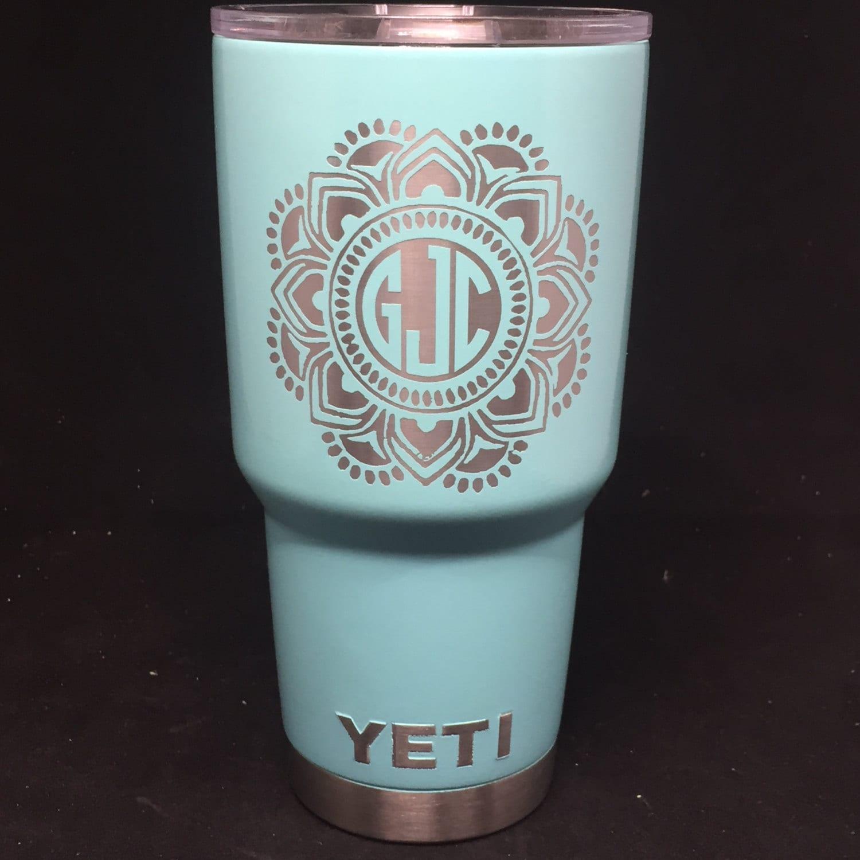 mandala monogrammed powder coated yeti  powder coated yeti with monogram  custom yeti  colored