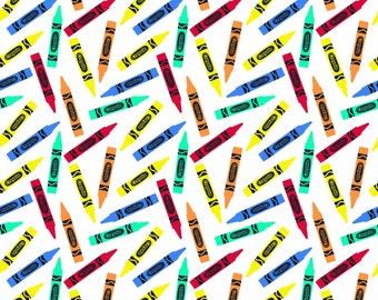 Crayola Crayon Riley Blake, white, knit, Colorfully Creative, cotton spandex, licensed, jersey 50% 4way stretch K5403R-White