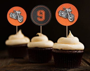 Motorcycle Biker Birthday Cupcake Toppers, Vintage Motorcycle Birthday, Harley Cupcake Toppers, Harley Davidson Birthday - Printable
