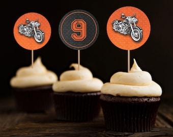 Motorcycle Biker Birthday Cupcake Toppers, Vintage Motorcycle Birthday, Harley Cupcake Toppers, Harley Davidson Birthday - Printable