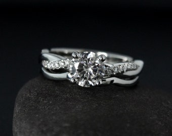 Forever One Moissanite Engagement Ring on Twisted Vine Band - Modern & Classic Bride - Matching Band Set