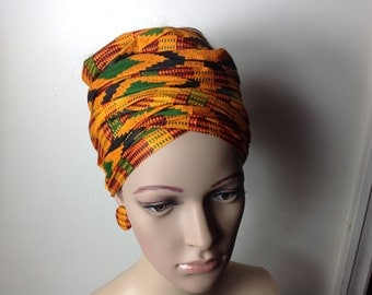 African Fabric Headwrap, African Head Wrap, Fabric Dangle Earrings, Ankara Fabric Earrings, African Jewelry, Ankara Earring, African Fashion