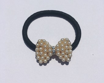 Bows and Pearls Ponytail Holder