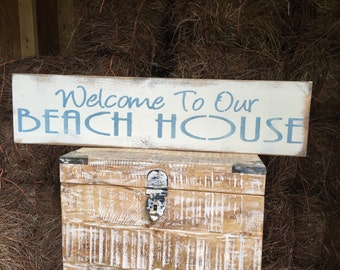"""Large Rustic Wood Sign - """"Welcome To Our Beach House"""" - Fixer Upper, HGTV, DIY"""