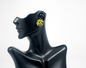 Black and Yellow Stud Earrings