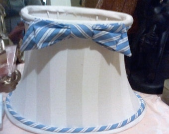 20% off - Vintage White Lampshade with Blue and White Striped Bow - Girls Room