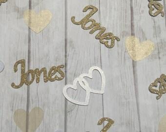 Wedding confetti. Wedding Shower confetti. Personalized confetti. Bridal Shower confetti. Heart confetti. Gold Confetti. Party confetti.