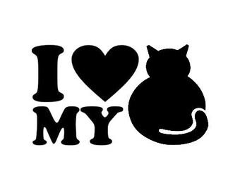 I <3 my cat, Love my cat, Cat decal
