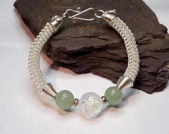 Clear Quartz and green aventurine bracelet