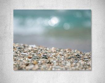 Beach photography Bedroom photography Coastal photo Pebble Photography Teal Grey decor Seashore photography Wall decor Photo print gift