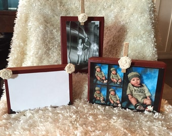 Custom Freestanding photo blocks with burlap clothespin and flower
