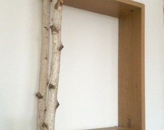 Rustic Floating Birch Wood Shelf, Birch Wood Decor, Rustic Cube Shelf, Floating Shelf, Wall Shelves