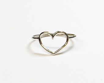 Solid silver heart ring, sterling silver heart ring, silver heart ring, heart ring 1mm wire heart ring