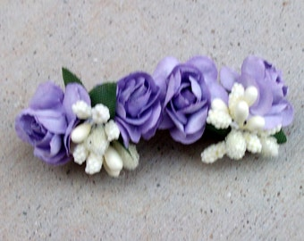Purple flower hair barrette, French hair barrette, mother of bride hair clip, adult hair barrette, floral hair clip, purple flower clip,