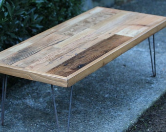 Reclaimed Wood Coffee Table on Hairpin Legs