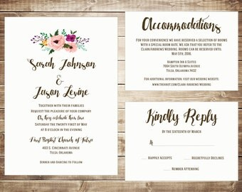 Floral Invitation, Chic, Formal Wedding Invitation Printable