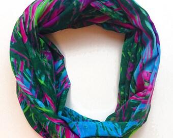 Infinity fabric scarf, snood, tube scarves, loop scarf, tropical, garden, summer, floral, green, blue, aqua, magenta, pink, beach, ocean