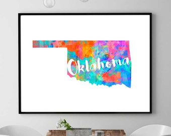 Oklahoma Map Print, Printable Map, Oklahoma Art, Watercolor Print, Oklahoma Poster, Map Wall Art Decor, Kids Decor