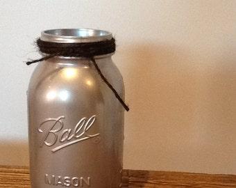 Mason Jar Vase 32oz Silver