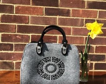 Felt Handbag with Embroidery, Woman's Handbag, Gift for her, Felt Satchels Bag, Embroidered Bag, Grey Bag, Business Bag, Birthday gift.