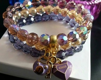 Purple Love Trio Beaded Bracelet