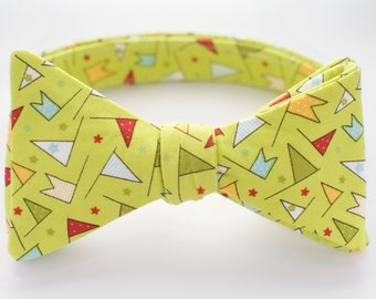 BOW TIE | baby, toddler, & boys | self-tie | green flags