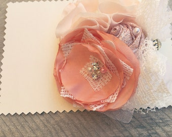 Hair Clip. boho, vintage, Fabric flowe hair clip, apricot and peach, wedding, birthday, photo prop, gift idea,