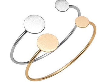 Bracelet silver Golden round woman cane