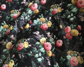 Vintage polished cotton yardage. Strong, vibrant floral print on black ground
