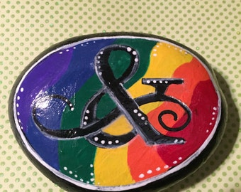 GAY PRIDE - equality - painted stone - paperweight - Rainbow - &