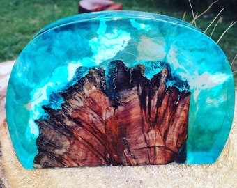 Resin and Burl Timber Sculpture - Paper Weight