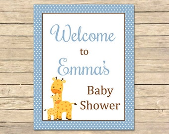 Blue Giraffe Personalized Welcome Sign, Giraffe Baby Shower Welcome Sign, Polka Dot Custom Welcome Sign, Printable Sign DIY Download 005-B
