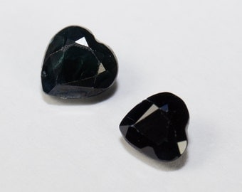 Natural Very Dark Blue Sapphire, Heart Shape Faceted Pair, 1.12ct Total Weight