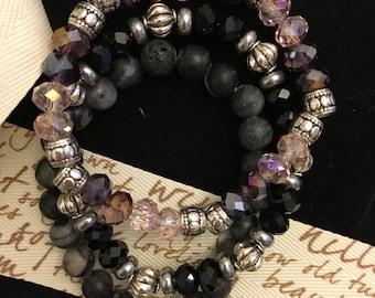 Black and Purple Beaded Set
