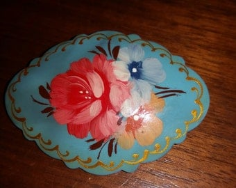 Vintage Hand Painted Blue Brooch With Flowers