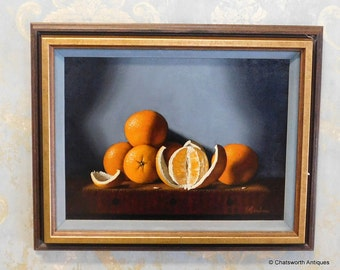 "Signed Still Life Framed Painting ~ Edward Anthony Herbes ""Oranges"" #5602 ~ 1975"