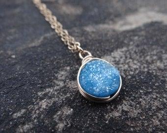 Turquoise Druzy, Blue Necklace, Druzy Pendant, Gold Necklace, Blue Druzy, Minimalist Necklace, Druzy Stone