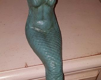 mermaid, cast iron, large mermaid, up cycled, shabby chic, coastal living, nautical