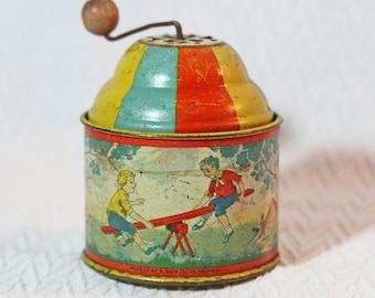 Vintage Ohio Art Tin Lithograph Crank Toy