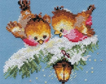 """A Brand New Counted Cross Stitch Kit """"Two Winter Birds"""" ALISA"""