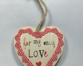 """Heart to suspend natural wood """"for my only love"""" black and Red"""