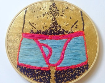 Embroidery image DISCOPANTY, mural, gold, goldenglitter, fun gift, underwear, embroidery ring, man