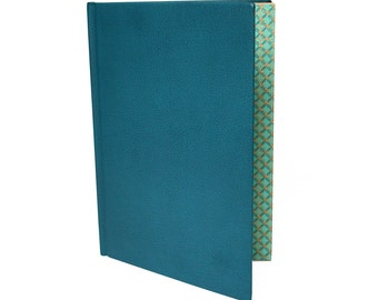 Book A5 turquoise leather with Golden slices